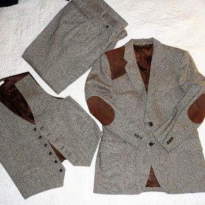 Vintage 80s 3 Pc Suit 100% Wool Tweed Elbow Patche